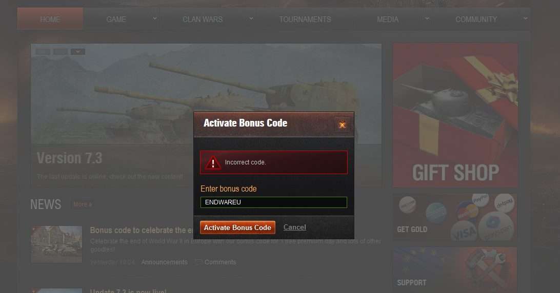Wargaming coupons error